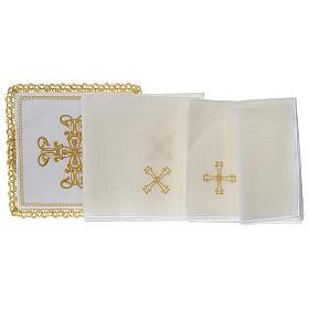 Servizio da altare 100% lino croce oro s3