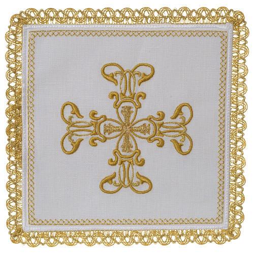 Servizio da altare 100% lino croce oro 1