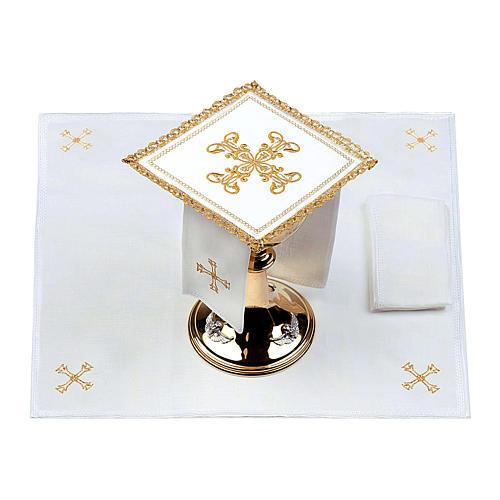 Servizio da altare 100% lino croce oro 2