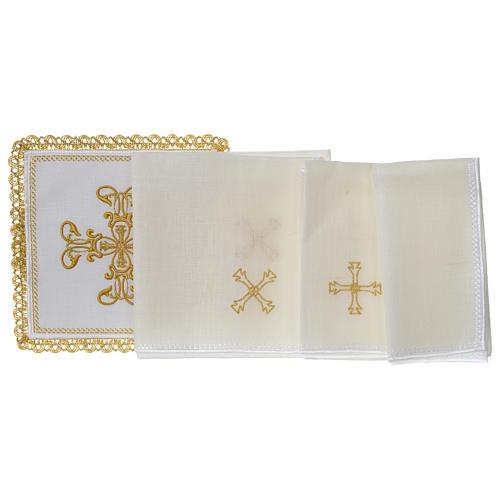 Servizio da altare 100% lino croce oro 3