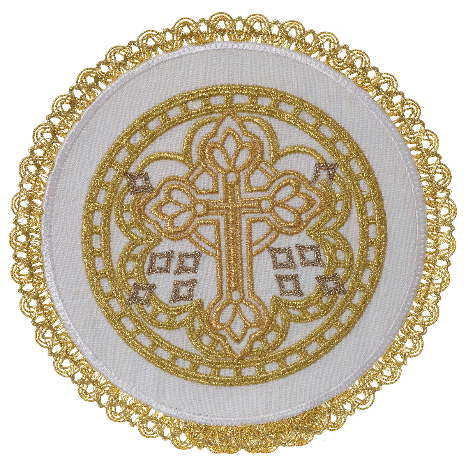 Servizio da altare 100% lino palla tonda croce 4