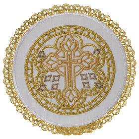 Servizio da altare 100% lino palla tonda croce s1