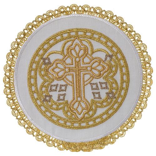 Servizio da altare 100% lino palla tonda croce 1