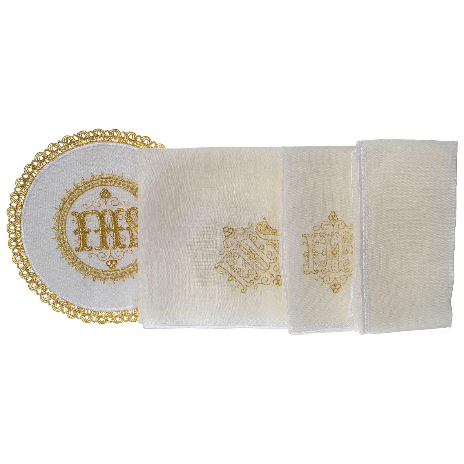 Altar linens set 100% linen IHS, round pall 4
