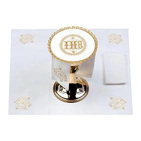 Altar linens set 100% linen IHS, round pall s2