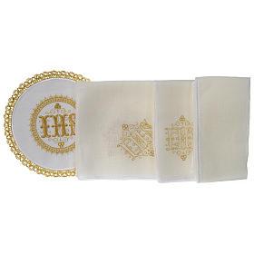 Altar linens set 100% linen IHS, round pall s3