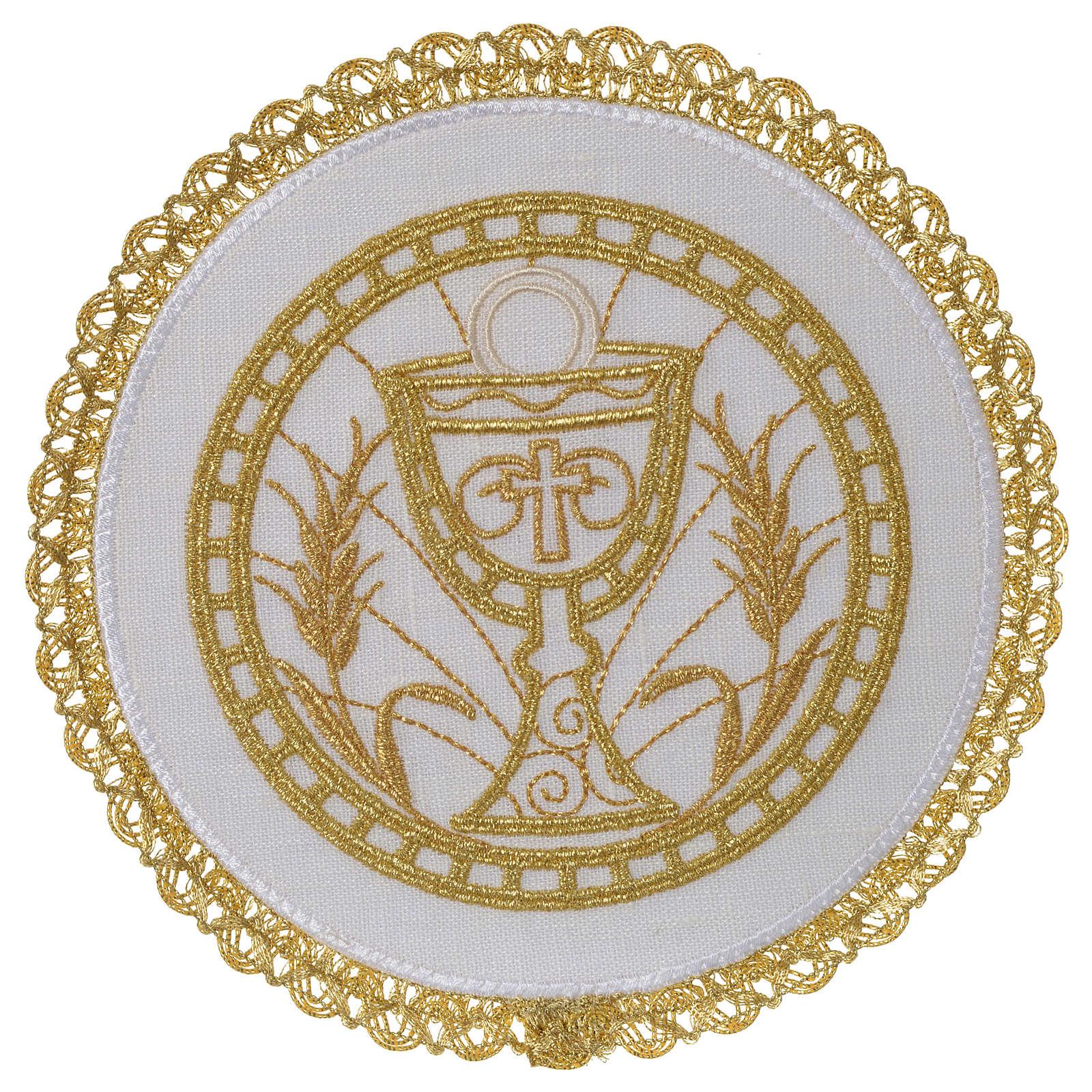 Linge d'autel 100% lin pale ronde calice et épis 4
