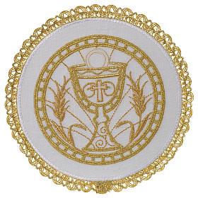 Linge d'autel 100% lin pale ronde calice et épis s1