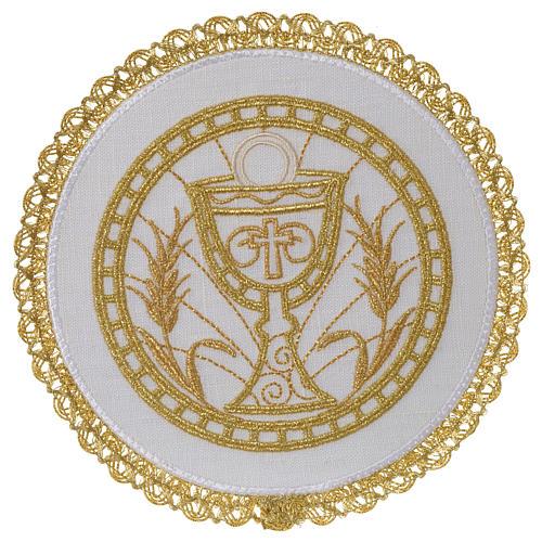 Linge d'autel 100% lin pale ronde calice et épis 1