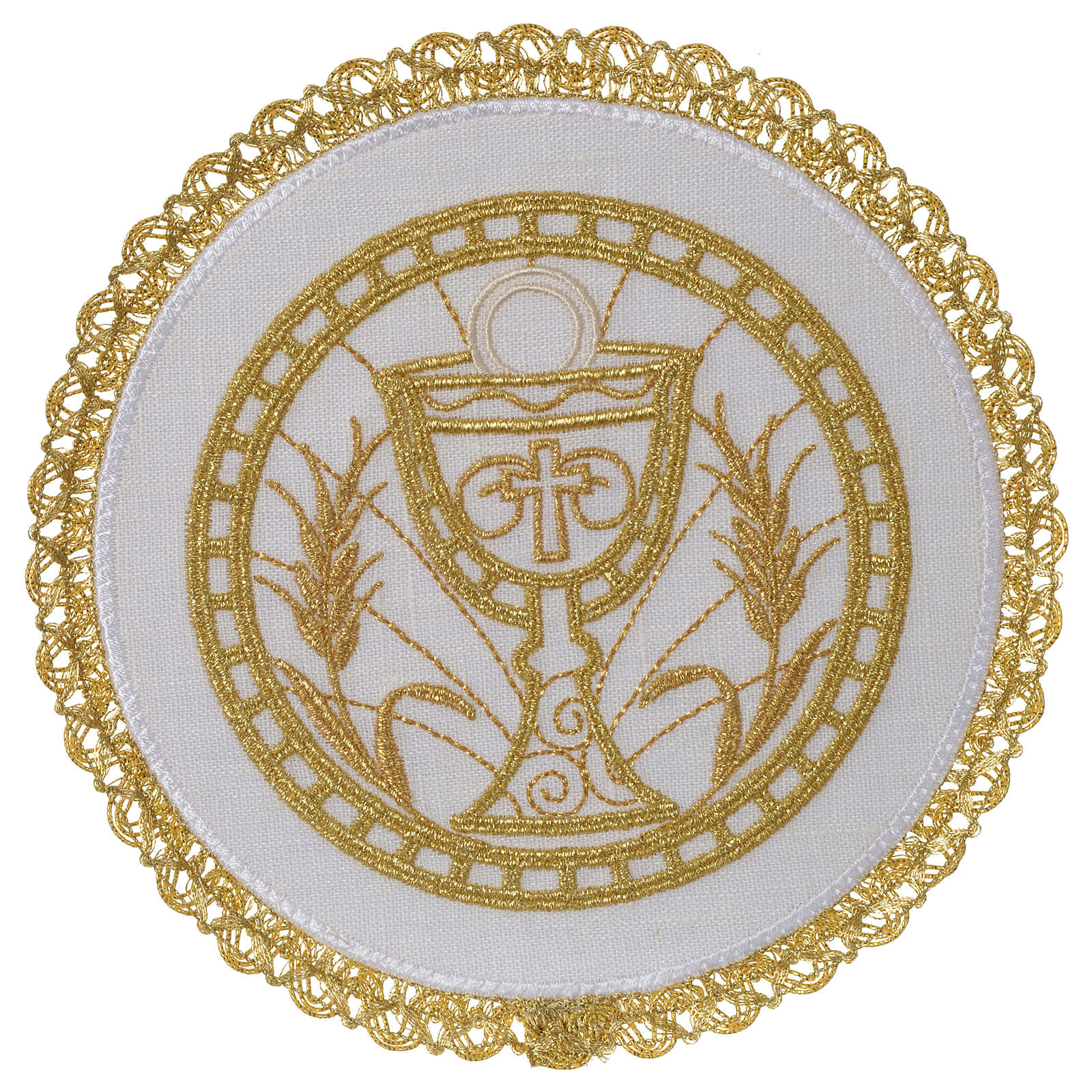 Altar linen set 100% linen with chalice emboridery, round pall 4
