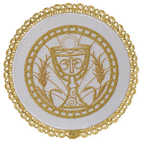 Altar linen set 100% linen with chalice emboridery, round pall s1