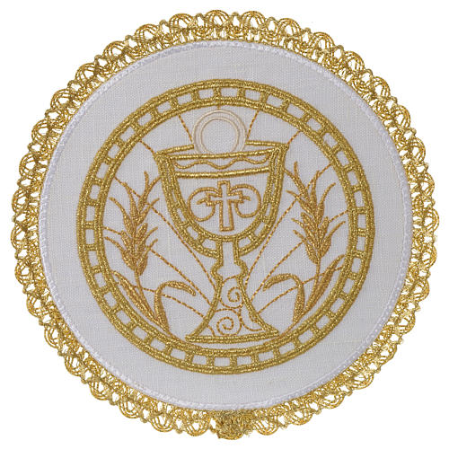 Altar linen set 100% linen with chalice emboridery, round pall 1