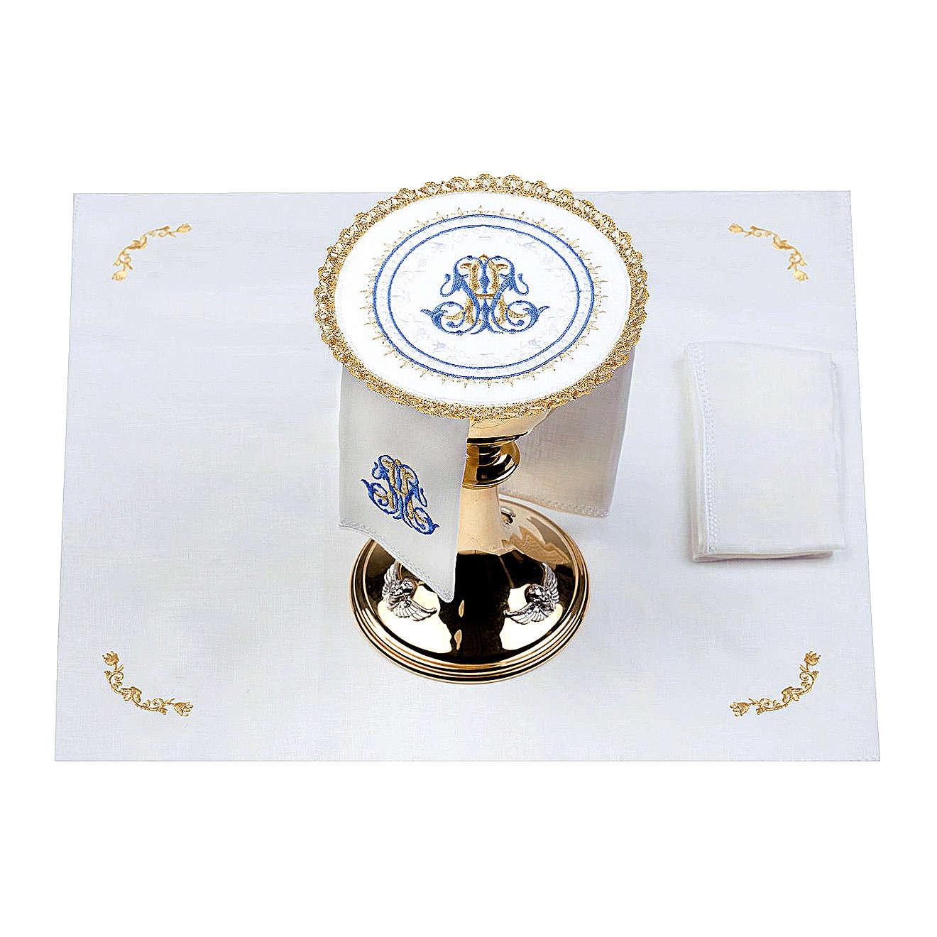 Altar linens set 100% linen Marian symbol, round pall 4