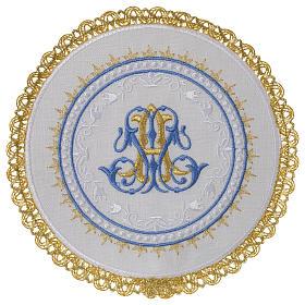 Altar linens set 100% linen Marian symbol, round pall s1
