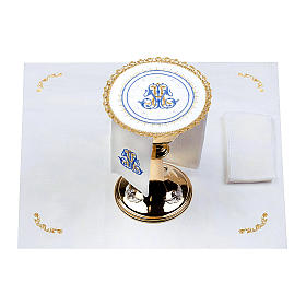 Altar linens set 100% linen Marian symbol, round pall s2