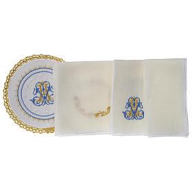 Altar linens set 100% linen Marian symbol, round pall s3