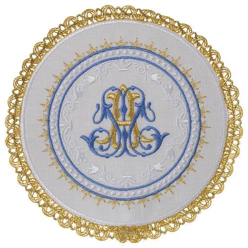 Altar linens set 100% linen Marian symbol, round pall 1