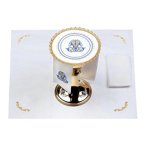 Altar linens set 100% linen Marian symbol, round pall 2