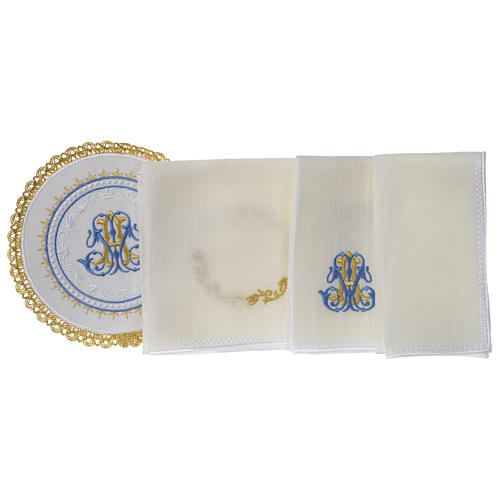 Altar linens set 100% linen Marian symbol, round pall 3