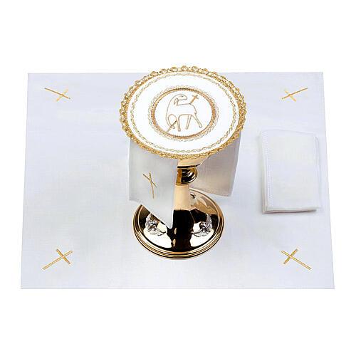 Conjunto altar 100% linho pala redonda Cordeiro Imolado 2