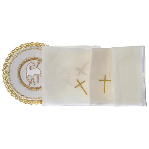 Conjunto altar 100% linho pala redonda Cordeiro Imolado 3