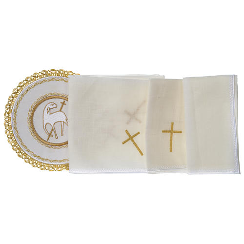 Lamb of God mass linens 100% linen with round pall 3