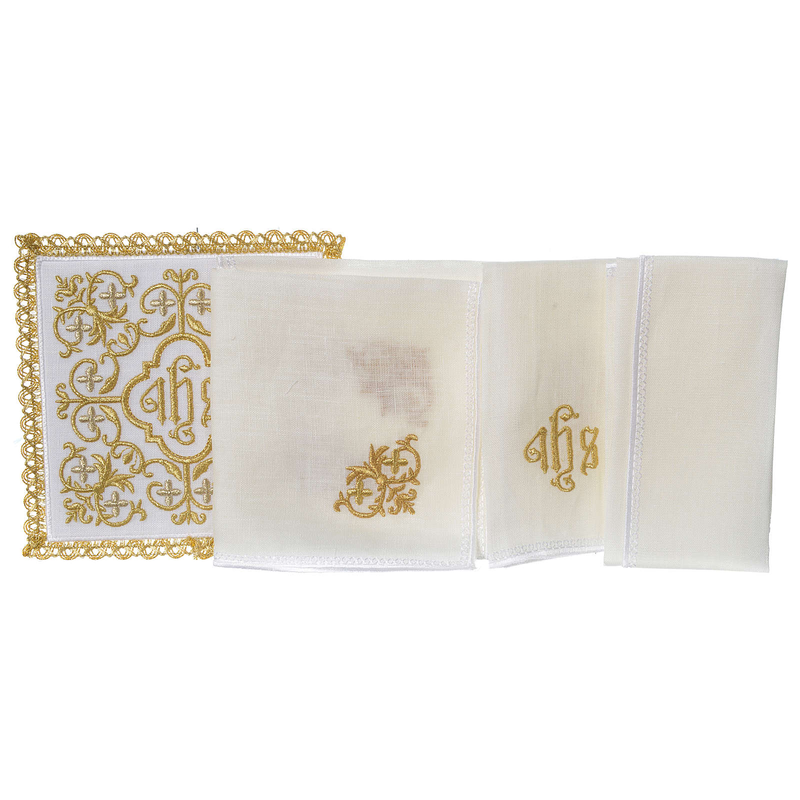 Altar linens set 100% linen IHS and vine 4