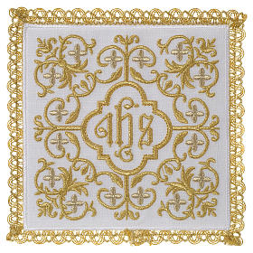 Altar linen set 100% linen IHS and flowers design s1