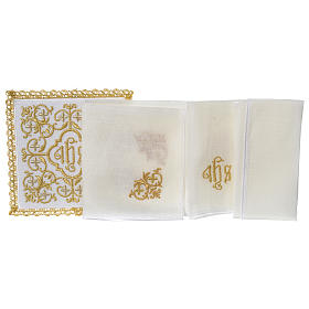Altar linen set 100% linen IHS and flowers design s3