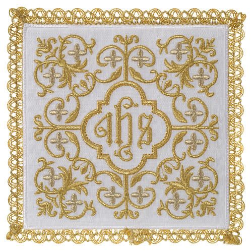 Altar linen set 100% linen IHS and flowers design 1