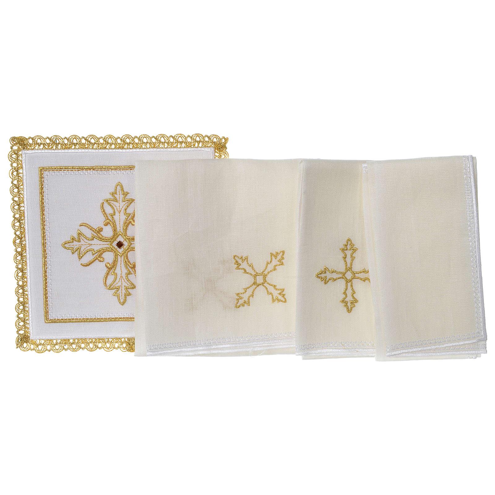 Servizio da altare 100% lino Croce pietra 4