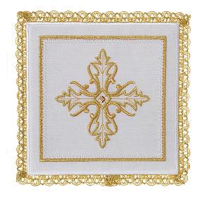 Servizio da altare 100% lino Croce pietra s1