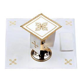 Servizio da altare 100% lino Croce pietra s2