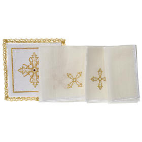 Servizio da altare 100% lino Croce pietra s3