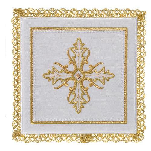 Servizio da altare 100% lino Croce pietra 1