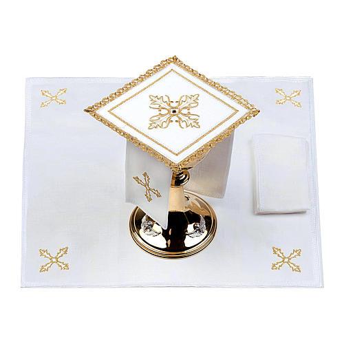 Servizio da altare 100% lino Croce pietra 2