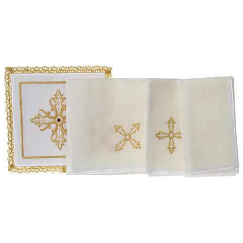 Servizio da altare 100% lino Croce pietra 3