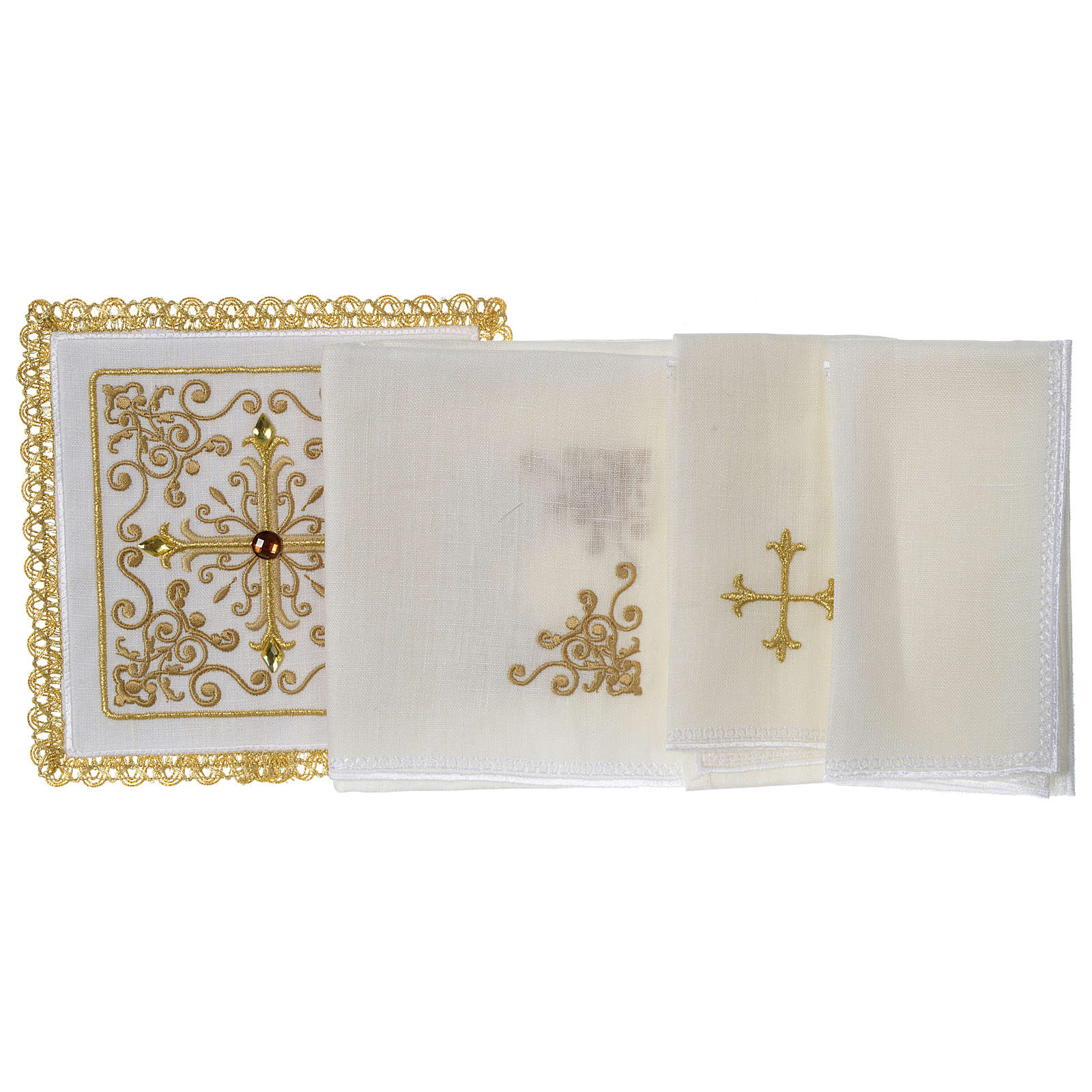 Altar linens set 100% linen Cross and vine with stones 4