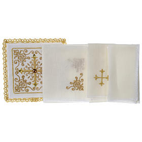 Altar linens set 100% linen Cross and vine with stones s3