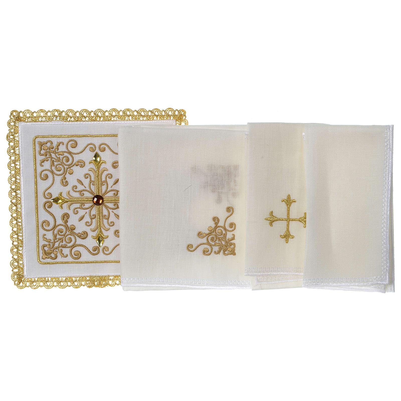 Servizio da altare 100% lino Croce tralci pietre 4