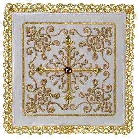 Servizio da altare 100% lino Croce tralci pietre s1