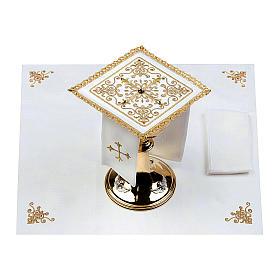 Servizio da altare 100% lino Croce tralci pietre s2