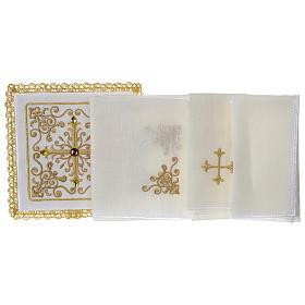 Servizio da altare 100% lino Croce tralci pietre s3