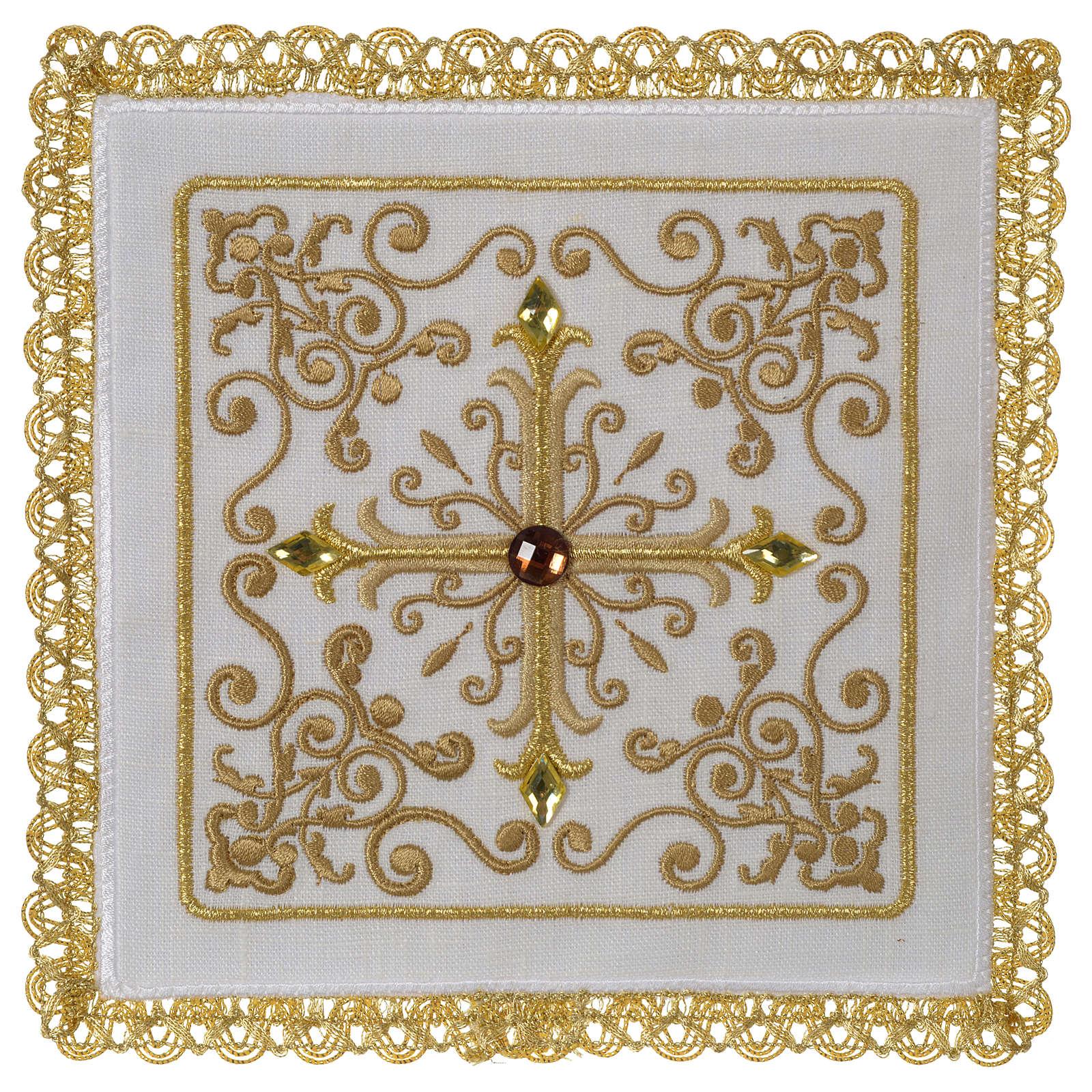 Altar linen set cross with glass appliques 100% linen 4