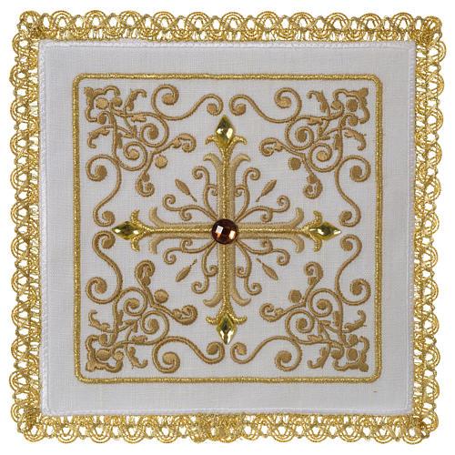 Altar linen set cross with glass appliques 100% linen 1