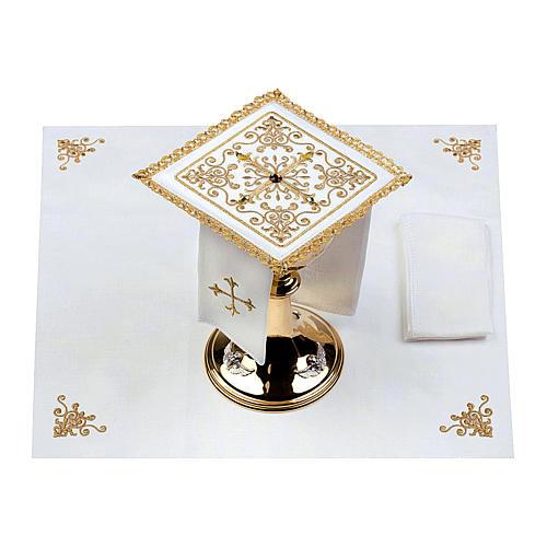 Altar linen set cross with glass appliques 100% linen 2
