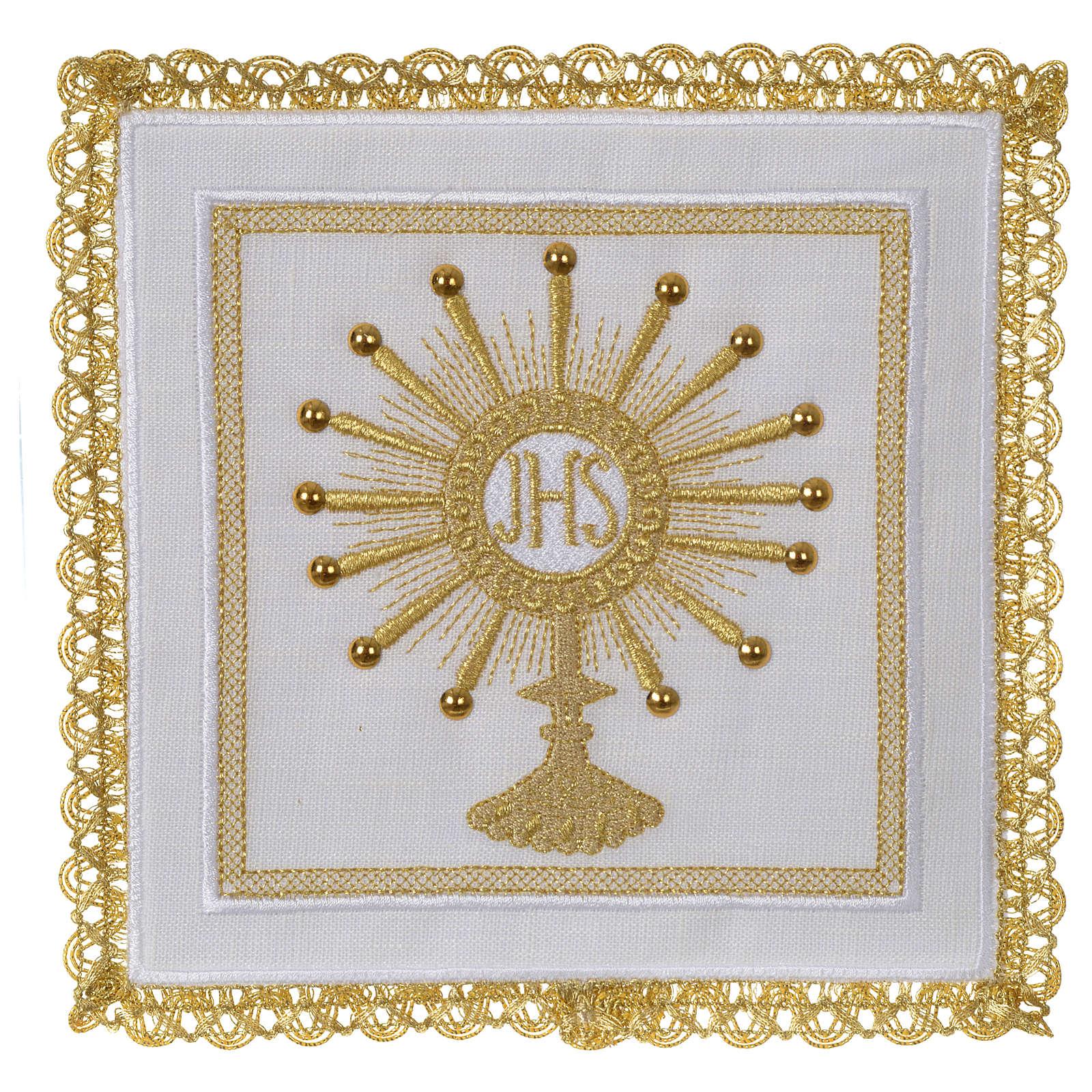 Servizio da altare 100% lino Ostensorio IHS 4