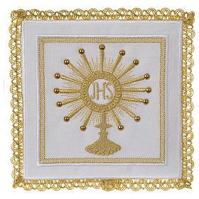 Servizio da altare 100% lino Ostensorio IHS s1