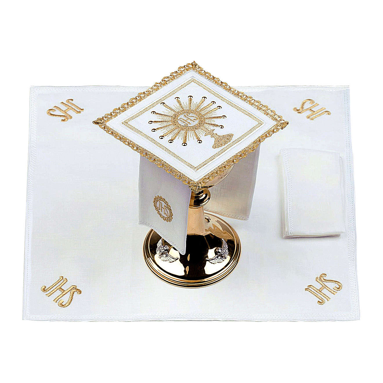 Altar linen set monstrance with glass appliques 100% linen 4