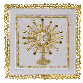 Altar linen set monstrance with glass appliques 100% linen s1